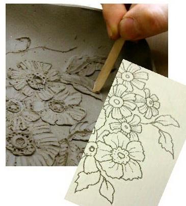 陶芸教室 東京 国立けんぼう窯 次回のレリーフ講座の準備中。