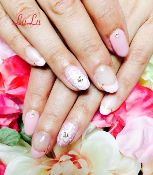 春ネイル☆お花☆ピンク☆フレンチ