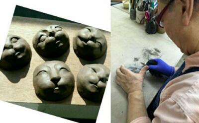 陶芸教室 東京国立けんぼう窯。招き猫の顔の型作り。