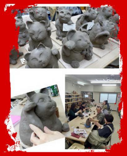 陶芸教室 東京国立 けんぼう窯 今日は、みんなで招き猫作り。