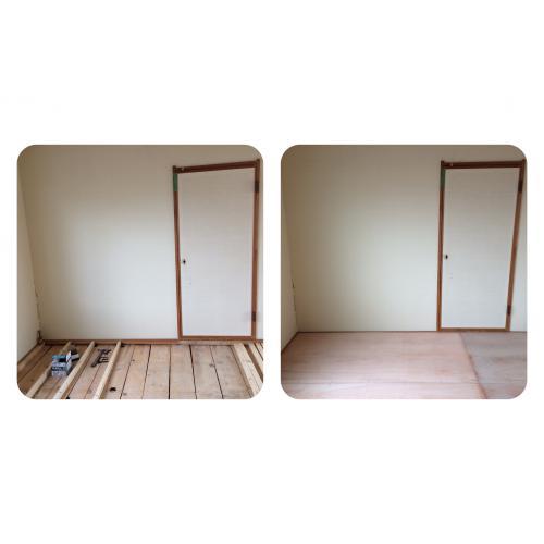 札幌市北区の賃貸アパート|和室から洋間へ床上げリフォーム工事