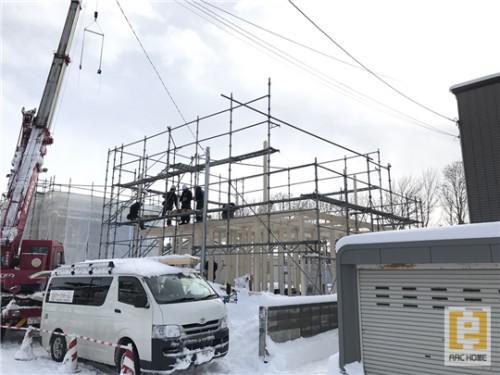 札幌市内にて新築注文住宅の建て方(上棟)しました☆