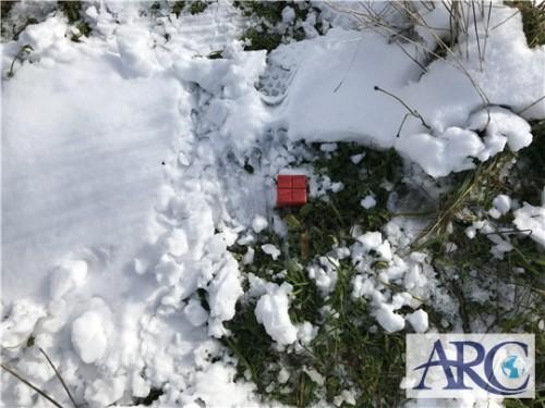 土地の境界杭を探す!雪が降ると大変です。
