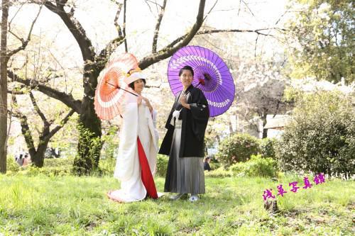春間近、隅田川の桜をバックに結婚写真はいかが!