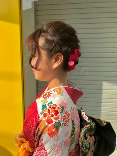 【卒業式】ショートヘアでも出来る和装の編み込みアップ
