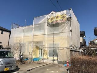 日高市で屋根・外壁塗装工事中です