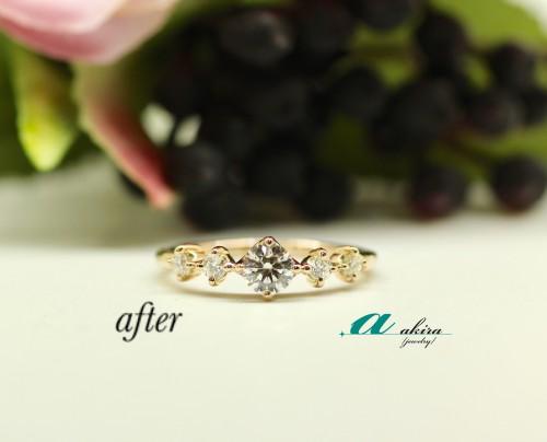 ピンクゴールドの婚約指輪をプチリフォーム 中央区から御来店