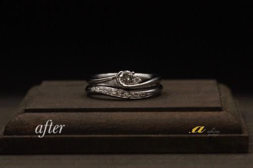 結婚指輪に合わせて婚約指輪をセットリングにリフォーム