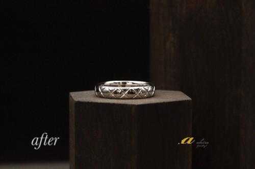 太目の結婚指輪が欲しいとの事で2本の指輪でリフォーム
