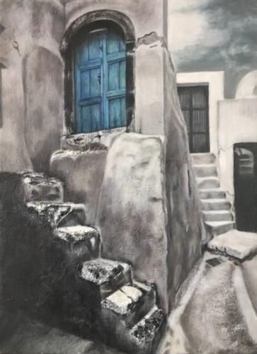 世田谷区在住の田坂さんの油彩画「サントリーニ島の片隅」
